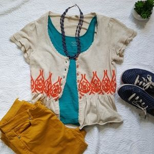 Anthropologie Embroidered Top/Cardigan - Small